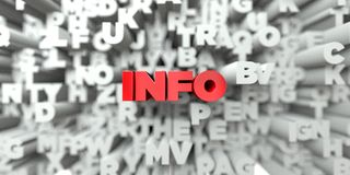 INFO -  Red text on typography background - 3D rendered royalty free stock image Stock Photo
