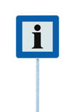 Info road sign in blue, black i letter icon, white frame, isolated roadside information signage on pole post, large detailed frame Stock Photos