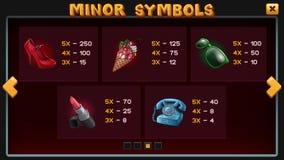 Info screen for slots game. Info screen template for slots game. Minor symbols. Vector art illustration vector illustration