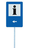 Info sign in blue, black i letter icon, white frame, left hand pointing arrow, isolated roadside information signage on pole post. Large detailed framed Stock Photo