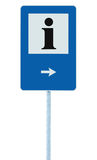 Info sign in blue, black i letter icon, white frame, right hand pointing arrow, isolated roadside information signage on pole post Stock Images
