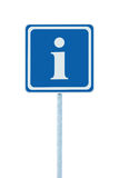 Info sign, blue, white i letter icon, frame, isolated roadside information road signage pole post large detailed framed closeup Royalty Free Stock Image