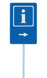 Info sign in blue, white i letter icon and frame, right hand pointing arrow, isolated roadside information signage on pole post. Large detailed framed roadsign Royalty Free Stock Photography