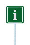 Info sign in green, white i letter icon frame, isolated roadside information signage pole post, large detailed framed roadsign. Info sign in green, white i Stock Photos