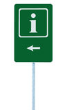 Info sign in green, white i letter icon and frame, left hand pointing arrow, isolated roadside information signage on pole post. Large detailed framed roadsign Royalty Free Stock Photography