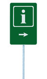 Info sign in green, white i letter icon and frame, right hand pointing arrow, isolated roadside information signage on pole post Royalty Free Stock Photo