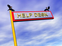 Info sign, help desk. 3D illustration, info sign help desk,  against a blue cloudy sky with birds on top. Clipping path, Copy space Stock Photos
