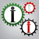 Info sign. Vector. Three connected gears with icons at grayish b royalty free illustration