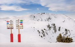 Info Signs at Ski Resort stock photography