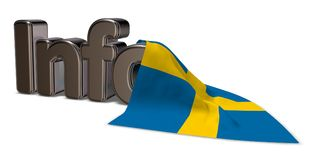 Info sweden. The word info and flag of sweden - 3d rendering Royalty Free Stock Photo