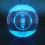 Info symbol on globe formed by binary code Royalty Free Stock Image