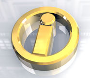 Info symbol in gold (3d) Stock Photos