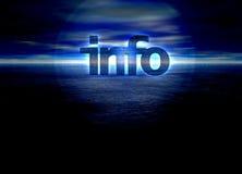 Info-Text, der über ein blaues Nachthorizontmeer glüht Lizenzfreies Stockfoto