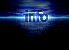 Info text glowing over a blue night horizon sea. Info text glowing over a bright blue night horizon sunrise Royalty Free Stock Photo