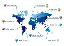 Info-världsöversikt royaltyfri illustrationer