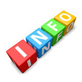 Info word made of colorful toy blocks Stock Photography