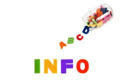 Info written in multicolored plastic kids letters Stock Photo