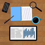 Infochart analysis on office desk with coffee. Vector chart organization finance illustration Royalty Free Stock Images