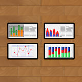 Infochart annual on tablets. Vector business chart on computer illustration Stock Photography