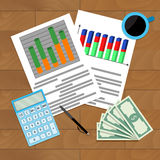 Infochart report result. Vector organization finance economy statistic illustration Stock Photography