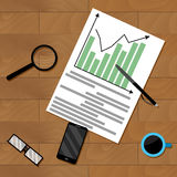 Infochart strategy paperwork. Vector financial organization chart illustration Stock Photography