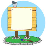 Infodesk. Bulletin board near which lies brush Royalty Free Stock Photos