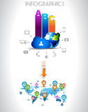 Infogarphics elements: technology and Clouds Stock Photography
