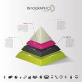 Infografía Pirámide abstracta 3d con los iconos Vector Imagen de archivo