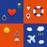 Infografic-Ikone stellte mit Liebes-, Wetter-, Fliegen- und Touristenthema ein Stockfotografie