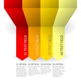 Infografic mall för affär i röda färger med band och textmodellen Arkivbild