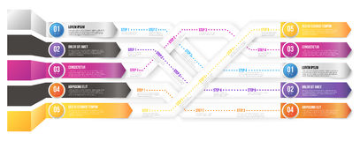 Infografics arrows, shuffled. 3D infographics style arrows, plexiform roadmap paths with steps pointed to different ways and goals. Vector illustration on white vector illustration