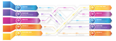 Infografics arrows, shuffled. 3D infographics style arrows, plexiform roadmap paths with steps pointed to different ways and goals. Vector illustration vector illustration