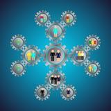 Infografics engranajes del metal con los niños de la gente, familia, colegas, amigos, relaciones sociales stock de ilustración