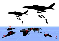 Infografics military conflicts. Bombers drop bombs on world map infographics vector illustration Stock Photo