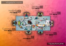 Infograph与temworking的群策群力的ta的背景模板 免版税库存图片