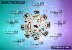 Infograph与temworking的群策群力的ta的背景模板 库存图片