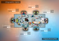 Infograph background template with a temworking brainstorming table with infographic design elements Stock Photography