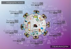 Infograph background template with a temworking brainstorming table with infographic design elements stock illustration