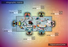 Infograph background template with a temworking brainstorming table with infographic design elements Stock Image