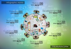 Infograph background template with a temworking brainstorming table with infographic design elements Stock Photo