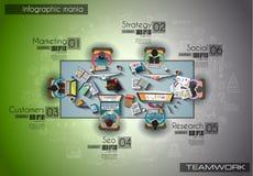 Infograph bakgrundsmall med en temworking idékläckning ta Fotografering för Bildbyråer