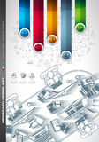 Infograph Brochure template with a lot of choices and a lot of infographic design elements Stock Image
