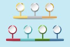 Infograph des cercles blancs avec des bords en métal Image stock