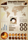 Infograph elements. Infographic elements. A wold map with placeholders, demographic elements, charts, diagrams Stock Photos