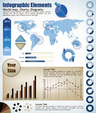 Infograph elements. Collection Infographic elements, a wold map with placeholders, charts, diagrams Stock Images