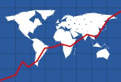 Infograph mockup for the economy with a red indication line going up for a positive world economy. And the world map in the background Stock Photos