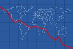 Infograph-Modell für die Weltwirtschaft, die unten geht Stockbild