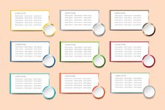 The infograph of nine blank white rectangles with colorful metal. Edges and the same circle Royalty Free Stock Photography