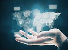 Infograph, tecnologia, innovazione globale e finanza Fotografia Stock Libera da Diritti