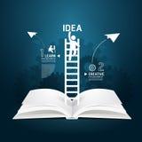 Infographic上升的梯子书图创造性的纸裁减。 免版税库存照片